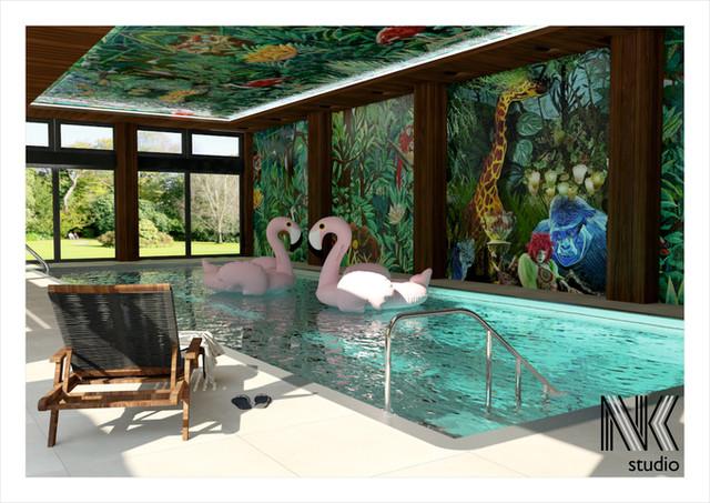 Basen z tropikalną mozaiką