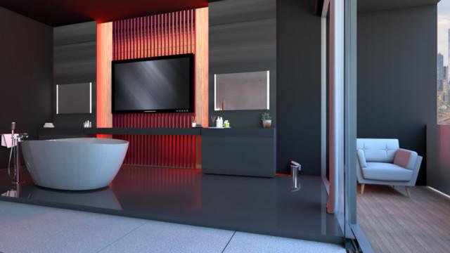 Czerwone lamele nadają charakter ścianie telewizyjnej