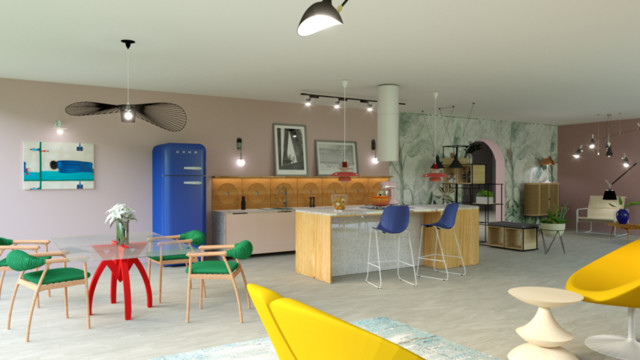 Living room with a kitchenette