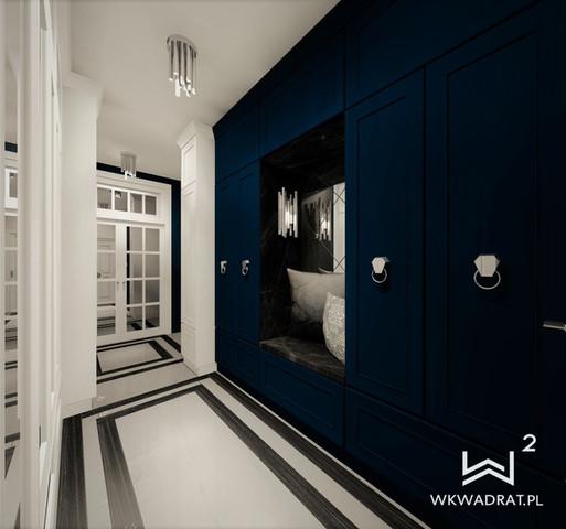 Niebieski hol w apartamencie
