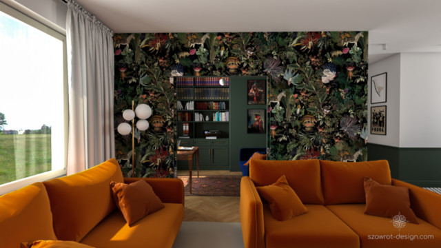Mały home office i salon w Warszawskim apartamentowcu