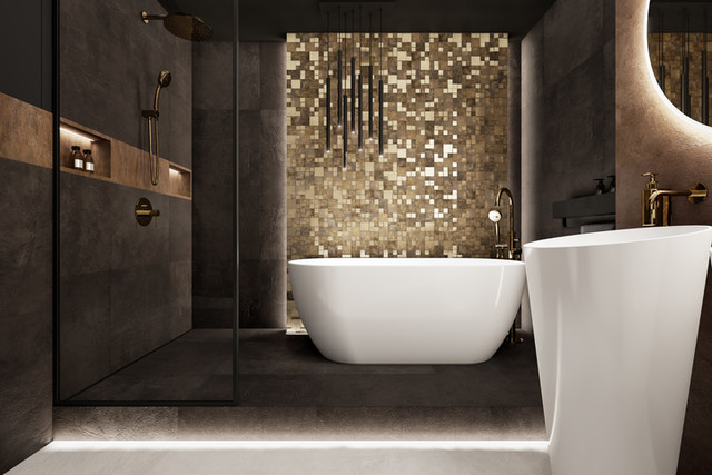 Elegancka łazienka z mocnym akcentem