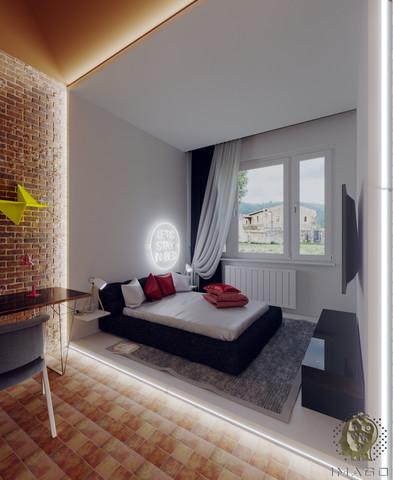 Sypialnia z garderobą w stylu industrialnym