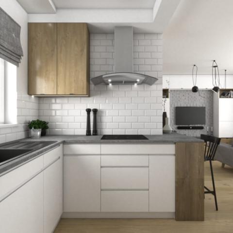Skandynawska kuchnia z białymi frontami z dodatkiem drewna