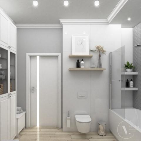 Łazienka z tapetą