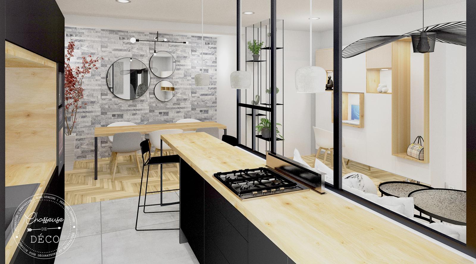 Une grande cuisine ouverte sur le salon  CHASSEUSE DE DECO
